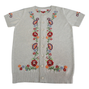 Short Sleeve Cardigan with embroidery